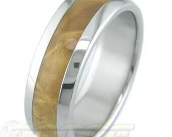 Titanium with Box Elder Burl inlay