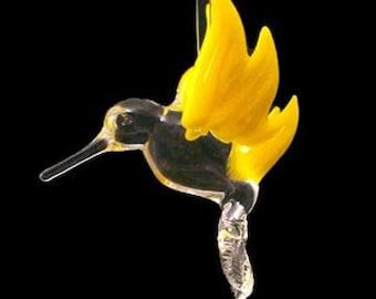 Hand Blown Glass Hummingbird, Yellow Wings, Suncatcher, Ornament