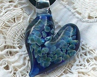 Hand Blown Cobalt Blue and Blue Moon Glass Heart Pendant, Necklace, or Focal Bead