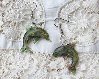 Hand Blown Glass Paris Green Dolphin Earrings