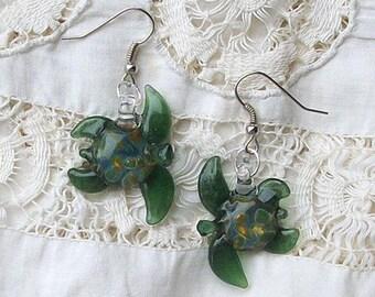 Hand Blown Glass Paris Green Sea Turtle Earrings, Free Shipping