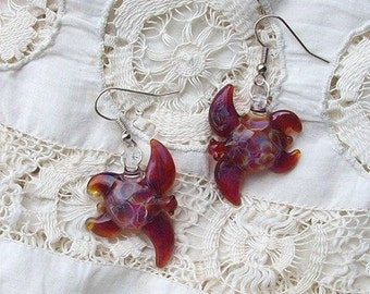 Hand Blown Glass Amber Purple Sea Turtle Earrings