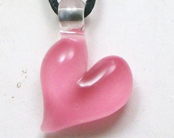 Hand Sculpted Glass Pink Heart Pendant, Necklace, Focal Bead