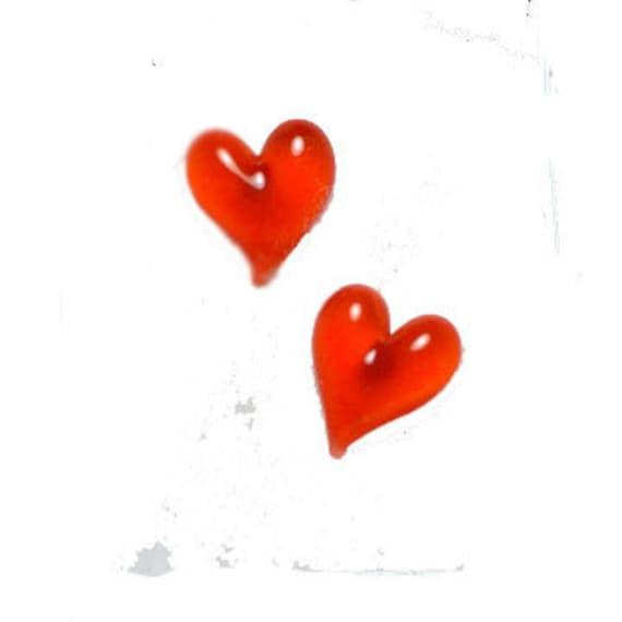 Hand Sculpted Orange Heart Earrings
