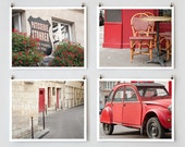 Red Paris Print Collection, Paris Photography, Paris Decor, Red Wall Art, French Wall Decor