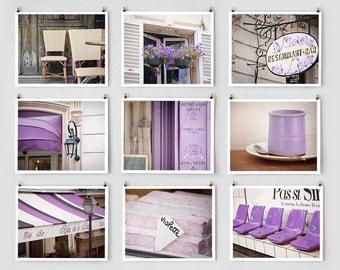 Paris Gallery Wall Art Prints, Purple Paris Photography Collection, Large Wall Art, Purple Paris Decor, Lavender Wall Decor