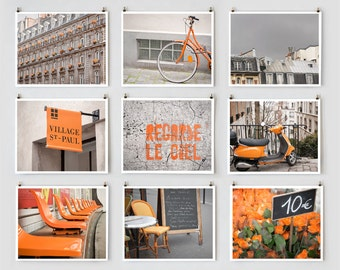 Fine Art Photography, Paris Gallery Wall Art, Orange Paris Photography Collection, Orange Wall Decor, Paris Decor, Oversized Wall Art