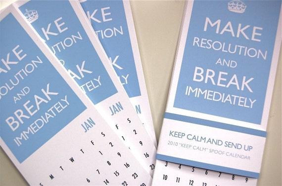 Keep Calm and Carry On Printable 2010 Spoof Calendar (Women)