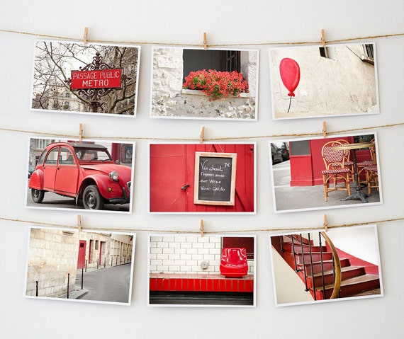 Postcard Set - Paris Postcards Collection, Red - 4x6 art postcard - Paris Photography - Valentine Red