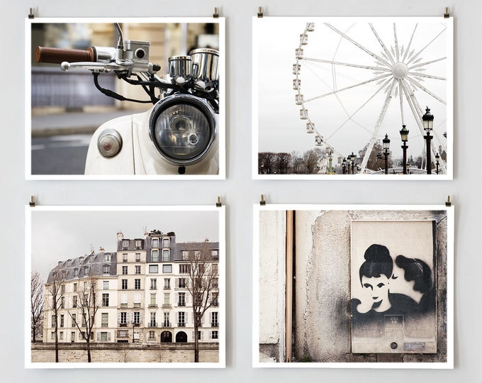 Paris Photography, Gallery Wall Prints, Fine Art Photography Collection, Large White Wall Art Prints, Girlfriend Gift for Her, Apartment Art