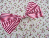 Extra Large Stripey Hair Bow on Hair Band in red