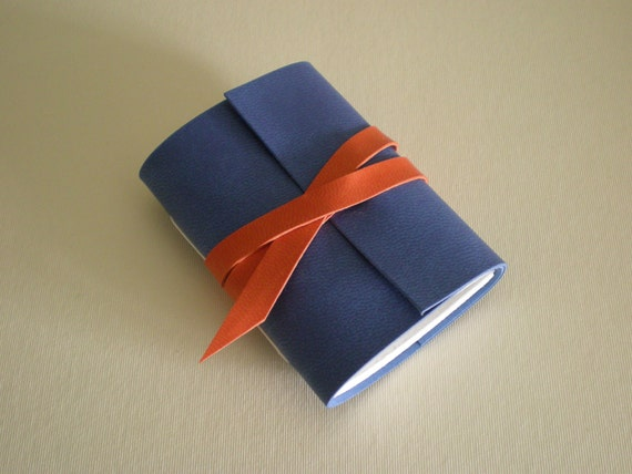 Vegan Mini Journal - Blue & Orange - faux leather, bright and bold.