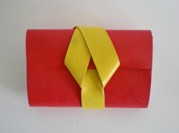 Sale 33% off Leather Notebook - small journal / sketchbook - Red & Yellow - Bright, colourful
