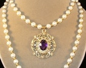 Queen Margaret---Purple and pearl Renaissance necklace