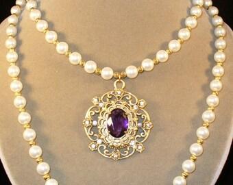 Queen Margaret---Purple and pearl Renaissance necklace