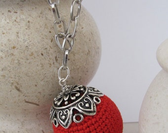 Red Crochet Bead  Charm Necklace