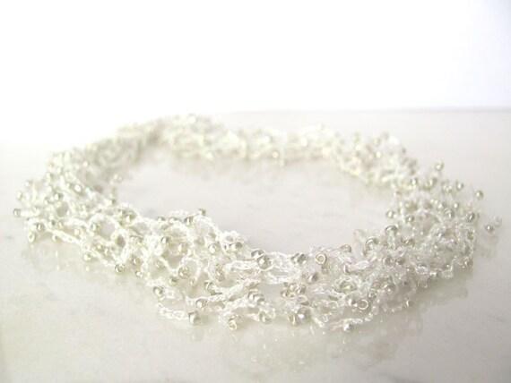 Silver white crochet necklace