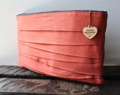Control Clutch- Pinkish Coral Linen Clutch--summer clearance sale