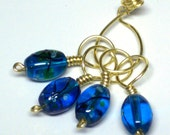 Stitch Marker Set of 4 Wire Wrapped Aqua Beads with Keeper