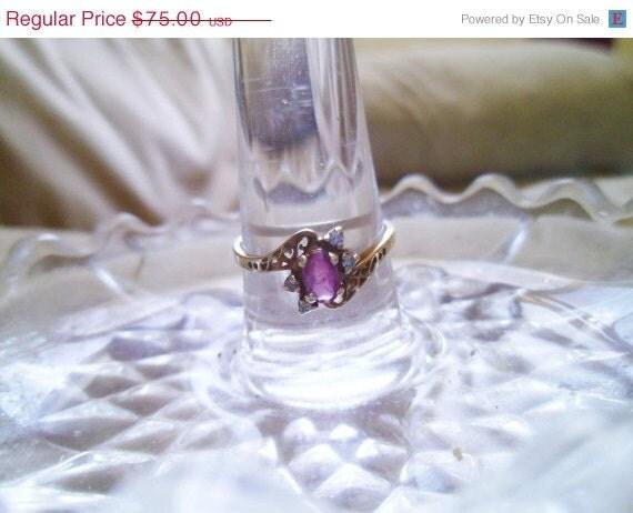 On Sale Vintage Ring: 10K  Ruby and Diamond Ring GTR J.M.Fox  Sz 7
