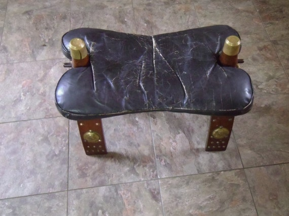 Antique Camel Saddle Egyptian Leather Seat Ottoman 1930 S