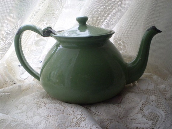 Vintage Enamel Porcelain  Tea Kettle Sage Green