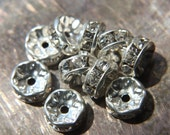 7mm Silver Czech Crystal Rhinestone Rondelles x10 (rhi-12)
