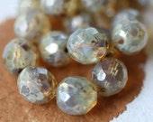 CASHMERE .. 6 Picasso Czech Opal Glass Beads (2306) - ArteBellaSurplus