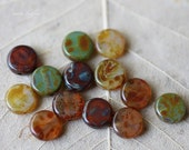 PETITE WEATHERED COINS .. Picasso Czech Glass Beads (2376)