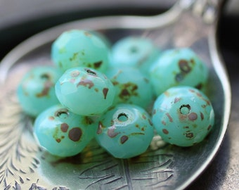 sale .. OCEAN'S GLOW .. 10 Picasso Czech Glass Rondelle Beads 6x8mm (2347-10)