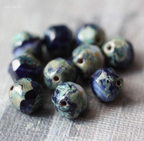 COBALT BLISS .. Picasso Glass Czech Baroque Beads (1887)
