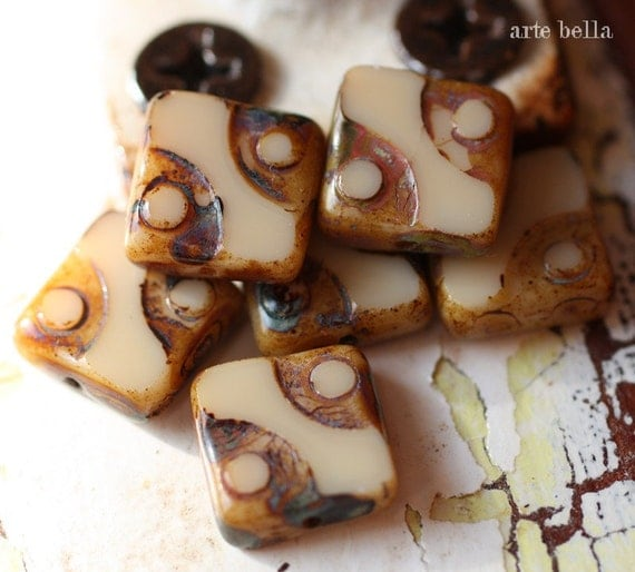 last ones .. LATTE SQUARES .. Picasso Czech Square Glass Beads 10mm (2032-6)