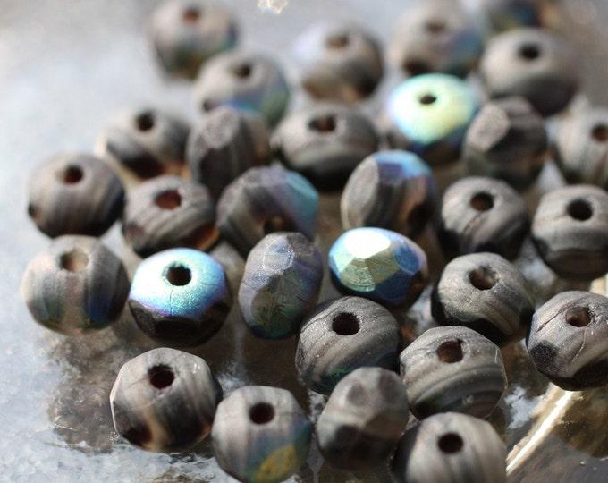 STEEL No. 2 .. 25 Premium Czech Matte Glass Beads 3x5mm (835-25)