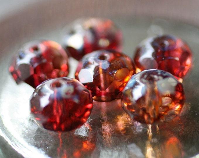 SANGRIA CRUSH .. 6 Premium Picasso Czech Glass Rondelle Beads 6x10mm (2250-6)