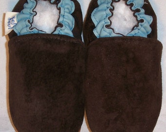 softsoul brown leather and suede soft soled baby shoes handmade in Montreal
