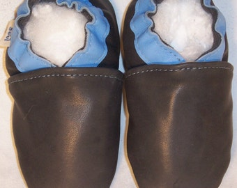 MOXIES classic leather baby shoes black /light blue 18-24 mos