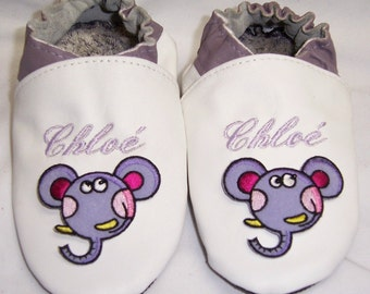 Moxies personalised leather soft sole baby shoes white lilac
