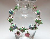 "Mother's Day Special ""Beautiful Pink and Green Crystal Charm Bracelet"" 25% OFF"