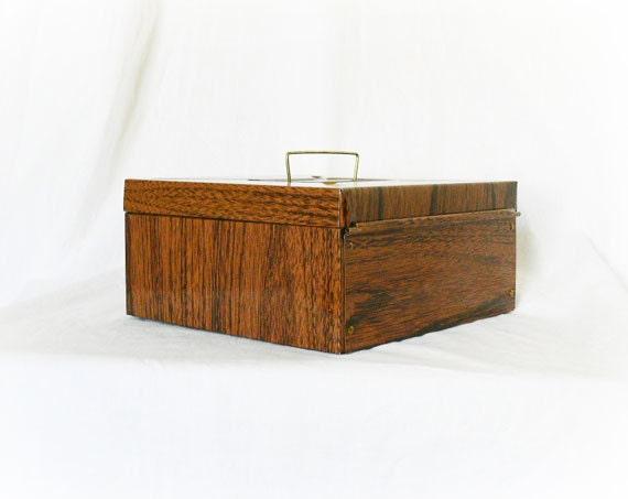 Wood Grain Storage : Vintage s wood grain metal storage lock by