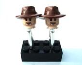 Indiana Jones Cufflinks - Silver Plated - Handmade using LEGO(r)