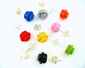 Round Brick Stud Earrings - Handmade with LEGO(r) studs
