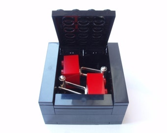 BLACK Cufflinks Gift / Display Box. Handmade with LEGO(r) bricks - cufflinks sold separately