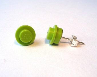 Lime Green silver plated earrings - Handmade with LEGO(r) studs