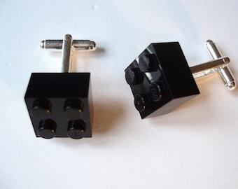 Black Brick Cufflinks - Handmade with LEGO(r) Bricks