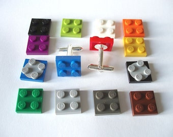 Pick your fav colour silver plated Cufflinks - Handmade with LEGO(r) 2x2 Plates