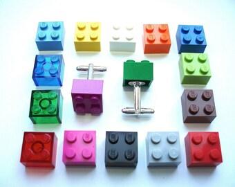 Brick Cuff links - Handmade with LEGO(r) bricks, wedding cuff links, colour match cuff links, groomsmen cuff links