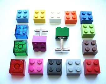 Wedding Cufflinks, Cufflinks for weddings, office, grooms - Silver Plated - Handmade with LEGO(r) Bricks