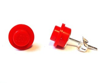 Red earrings silver plated - Handmade with LEGO(r) bricks