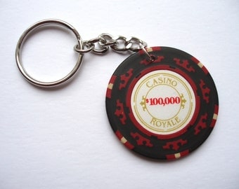 James Bond Poker chip keychain keyring - Casino Royale 100,000 chip