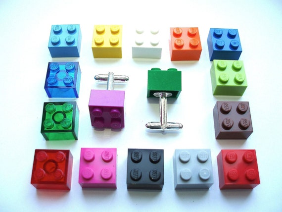 Brick Cuff links - Handmade with LEGO(r) bricks, wedding cuff links, colour match cuff links, groomsmen cuff links